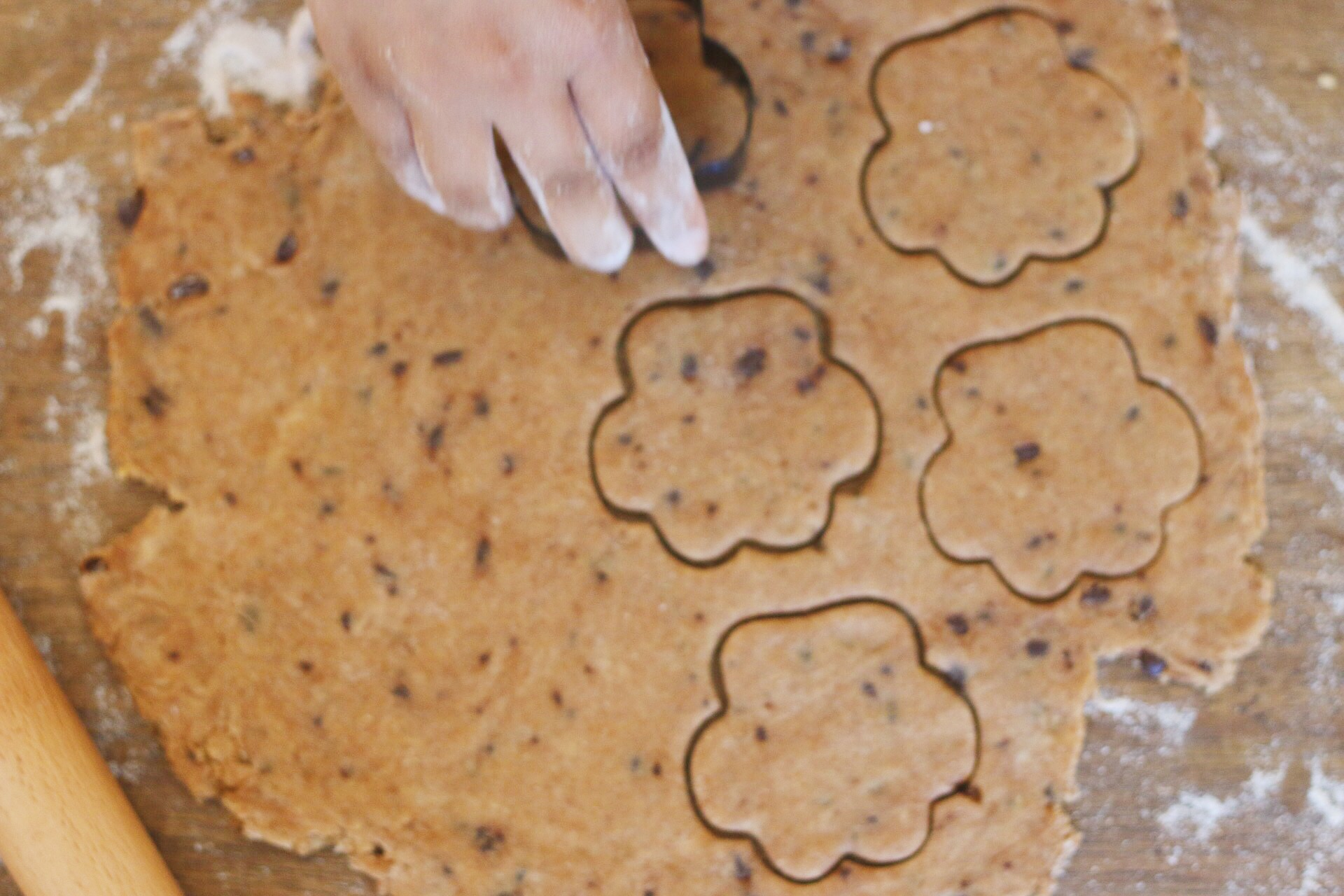 Roll out dough about 1 inch thick and cut out shape.